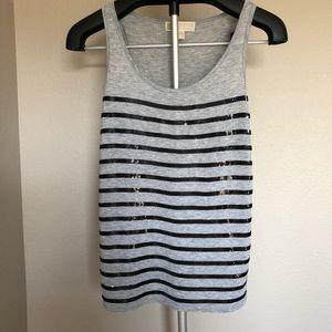 Michael Kors Sleeveless Stripe Sequin Tank Top